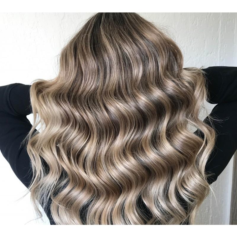Balayage langt hår fuld behandling (klip, helfarve og balayage)